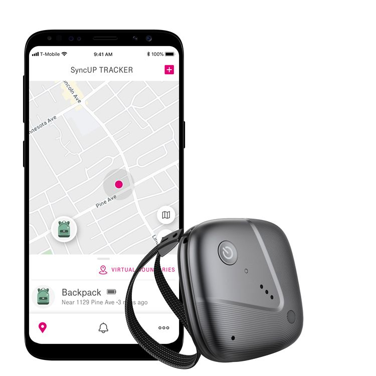 A smartphone with sync-up tracker app shows location of a backpack. Sync-up tracker device is next to phone.