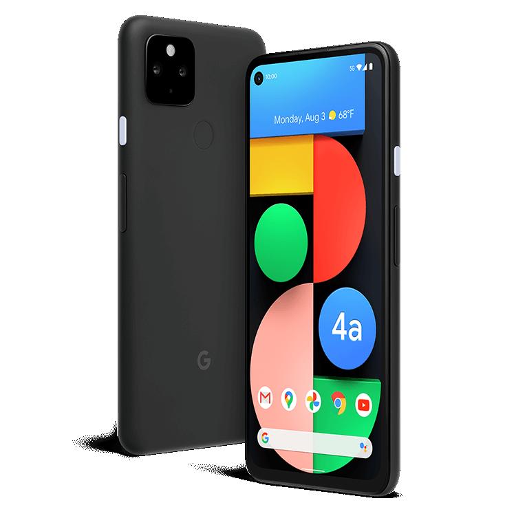 Back of a black Google Pixel 4a 5G