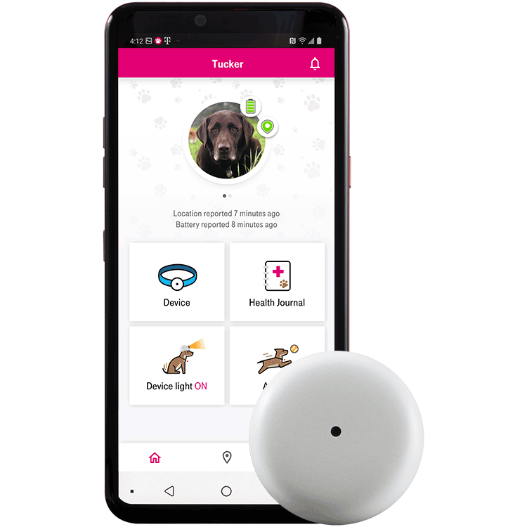Dispositivo de rastreo Sync-up petsjunto a un smartphoneque muestra una fotos de un perro, su ubicación y el nivel de batería del dispositivo.