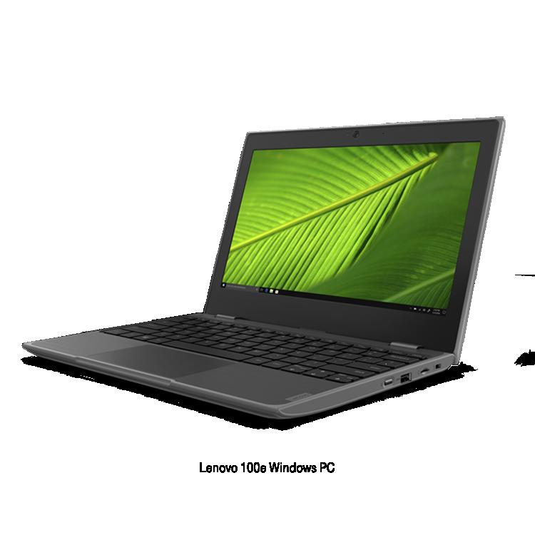 Black Lenovo 100e Windows PC.