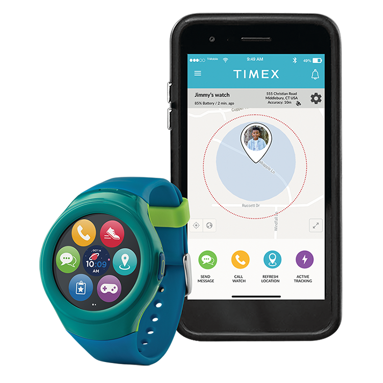 Coloridoreloj inteligente para niños Timex FamilyConnectjunto a un smartphone que muestra la ubicación del niño.