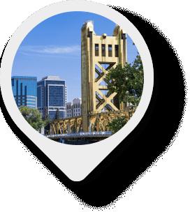 Sacramento Tower Bridge map pin